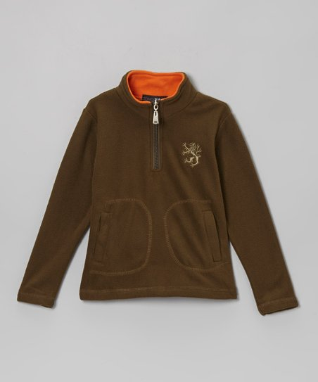 Khaki & Orange Fleece Pullover - Toddler & Boys