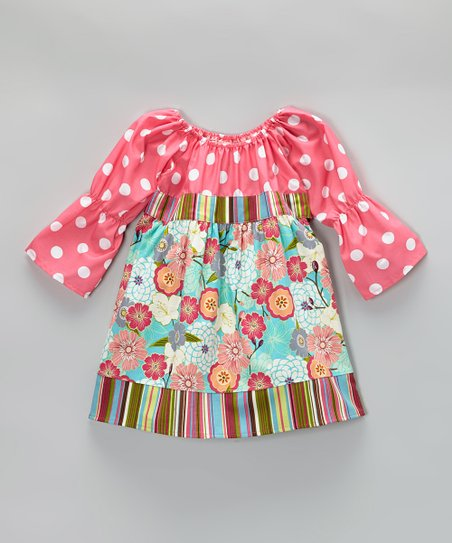Teal & Hot Pink Vintage Floral Dress - Toddler & Girls