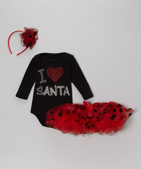 Black 'I Love Santa' Bodysuit Set - Infant