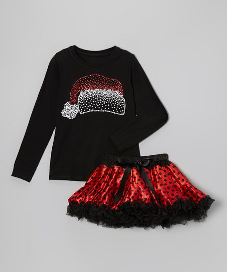 Black & Red Santa Hat Tee & Pettiskirt - Toddler & Girls