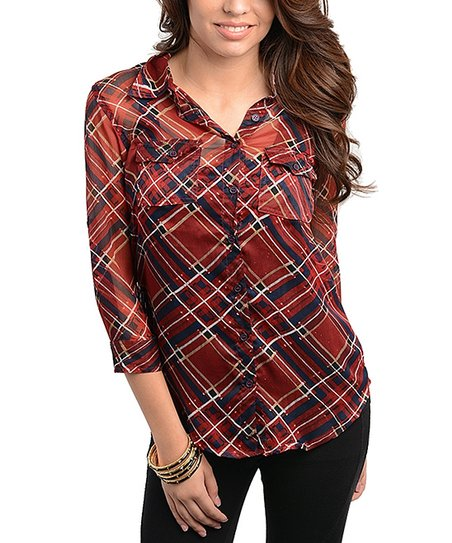 Red & Navy Plaid Pocket Button-Up