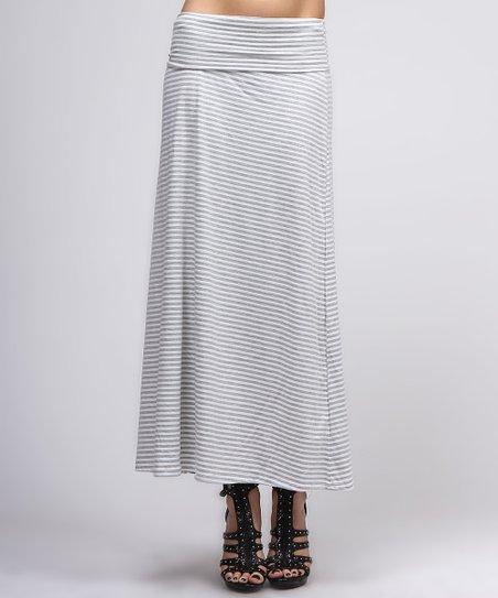 White & Gray Maxi Skirt