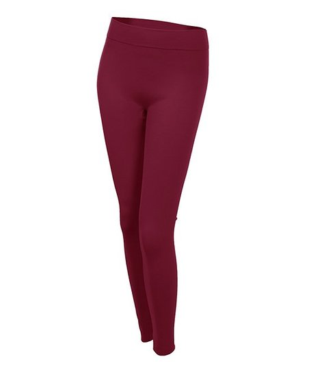 Wine Fleece-Lined Leggings