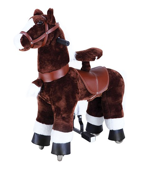 Dark Brown & White Giddy Up Horse Ride-On
