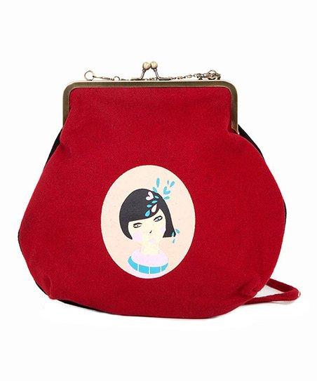 Red & White Habichuela Wool Crossbody Bag