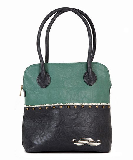 Green & Black Mustache Shoulder Bag