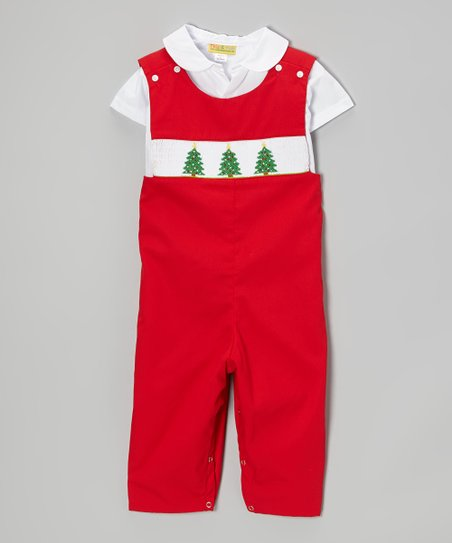 Red & White Christmas Tree Top & Overalls - Infant, Toddler & Boys