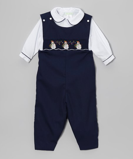Navy & White Snowmen Top & Overalls - Infant