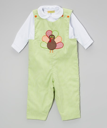 Green & White Turkey Gingham Top & Overalls - Infant