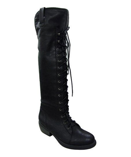 Black Prim Lace-Up Knee-High Boot