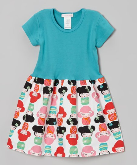 Teal & White Kawaii Girl Dress – Infant, Toddler & Girls