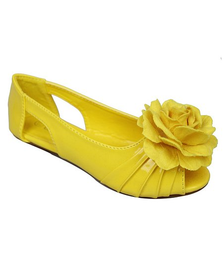 Yellow Cupcake Peep-Toe Flat