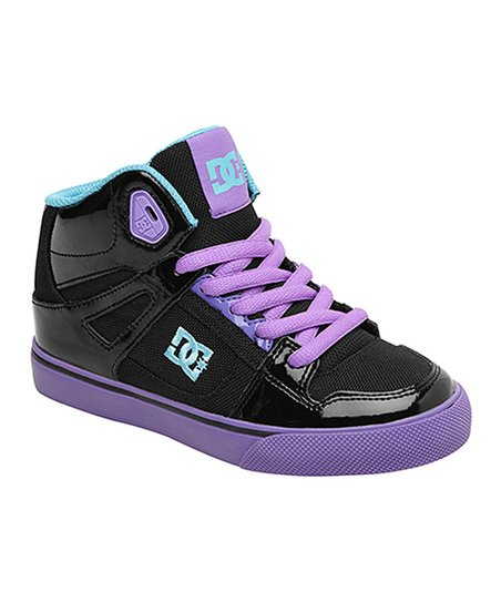 Black & Fluorescent Purple Spartan Hi-Top Sneaker