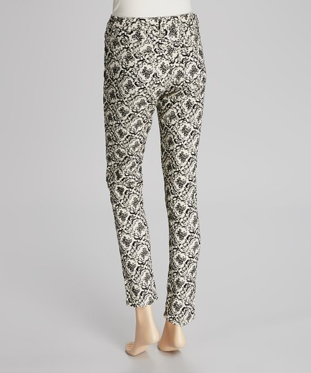 Black & White Flocked Skinny Jeans