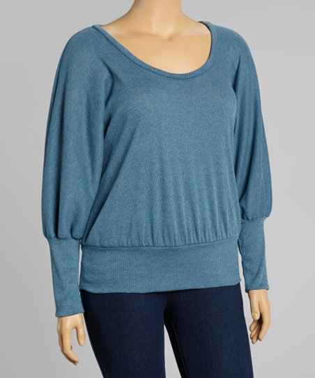 Heather Blue Ribbed Dolman-Sleeve Blouson Top - Plus