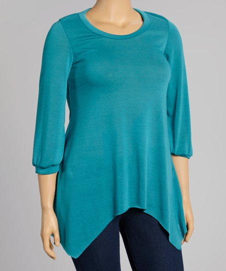 Teal Three-Quarter Sleeve Sidetail Top - Plus