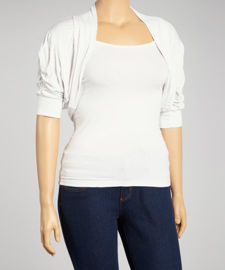 White Ruched Shrug - Plus