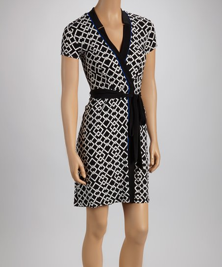 Black & Cream Chain Link Surplice Dress