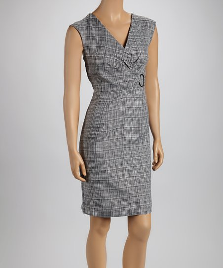 Black & White Plaid Surplice Dress