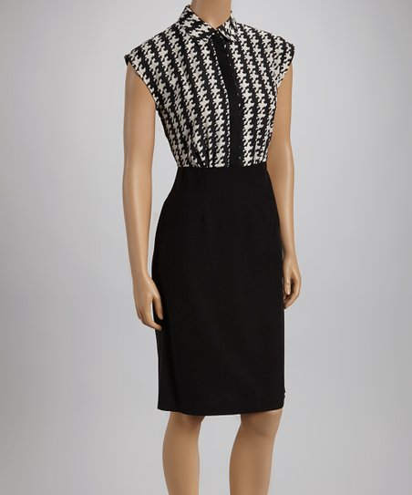 Off White & Black Houndstooth Cap-Sleeve Dress