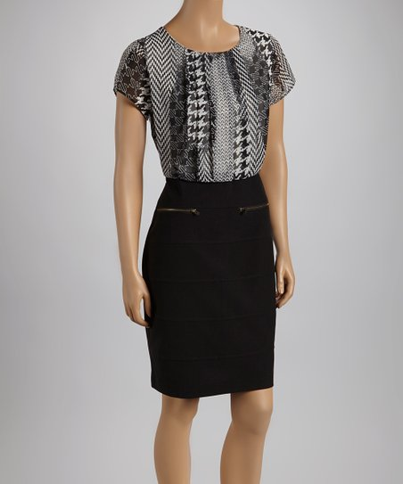 Black & Ivory Houndstooth Medley Short-Sleeve Dress