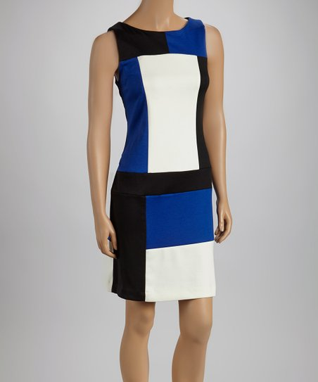 Black & Royal Color Block Sleeveless Dress