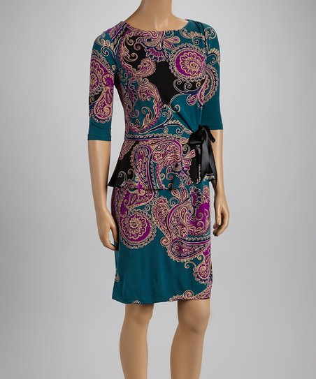 Teal & Purple Paisley Peplum Dress