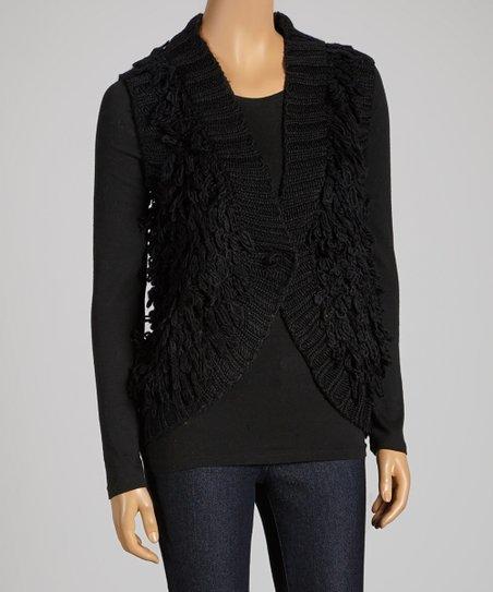 Black Knit Single-Button Wool-Blend Vest