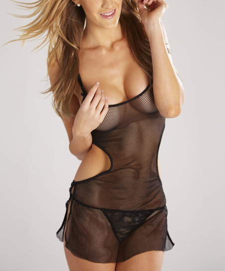 Black Mesh Cutout Chemise & Thong - Women & Plus