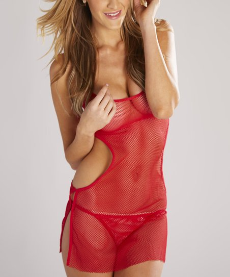 Red Mesh Cutout Chemise & Thong - Women & Plus
