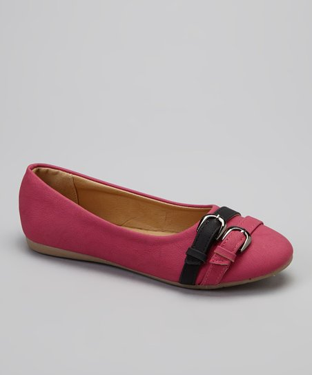 Fuchsia Double Buckle Flat