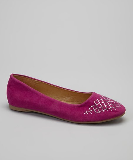Fuchsia Metallic Stud Lattice Flat