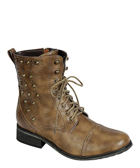 Khaki Studded Alice Boot