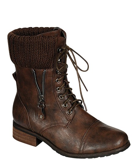 Brown Lace-Up Alice Boot