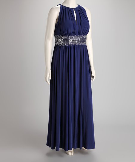 Royal Plus-Size Maxi Dress
