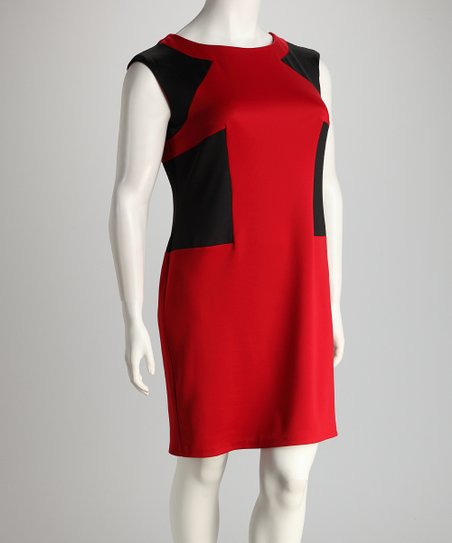 Red & Black Color Block Plus-Size Sheath Dress
