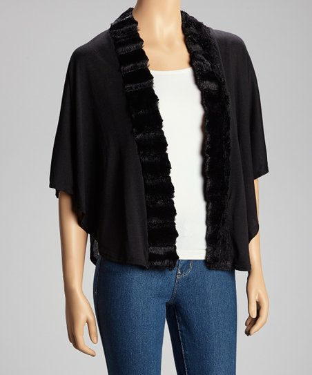 Black Faux Fur-Trim Cardigan