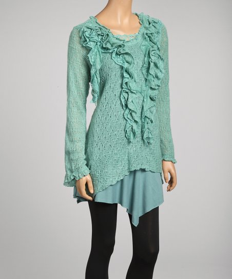 Mint Tiered Ruffle Linen-Blend Tunic