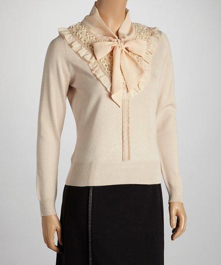 Beige Ruffle Neck Sweater
