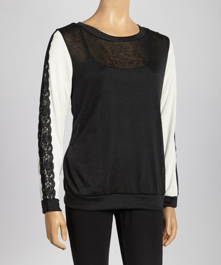 Black Lace-Trim Long-Sleeve Top