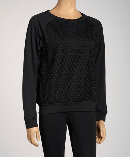 Black Mesh Raglan Top