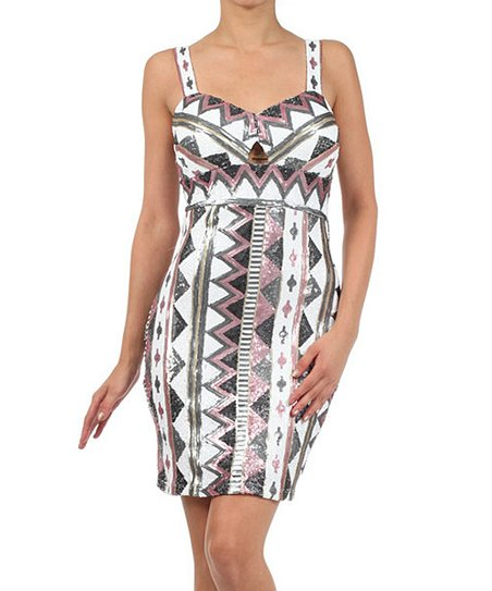 Rose & White Sequin Tribal Sleeveless Dress