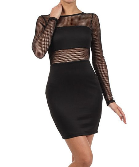 Black Net Mesh Cutout Dress