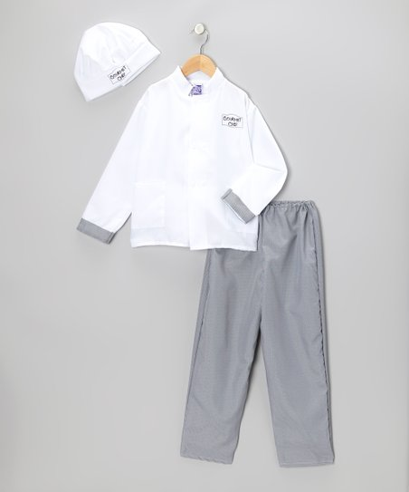 White & Black Gourmet Chef Dress-Up Set - Kids