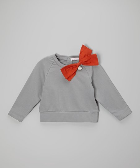 Gray & Orange Bow Sweatshirt - Girls