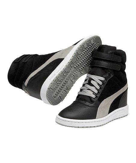 Black & Limestone Gray Sky Wedge Sneaker - Women