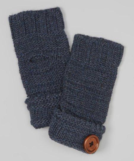 Denim Blue Button Wool-Blend Fingerless Gloves