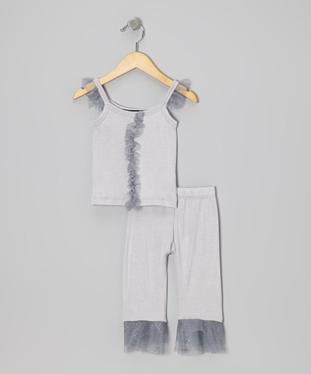 Silver Glitter Ruffle Top & Capri Pants - Infant & Toddler