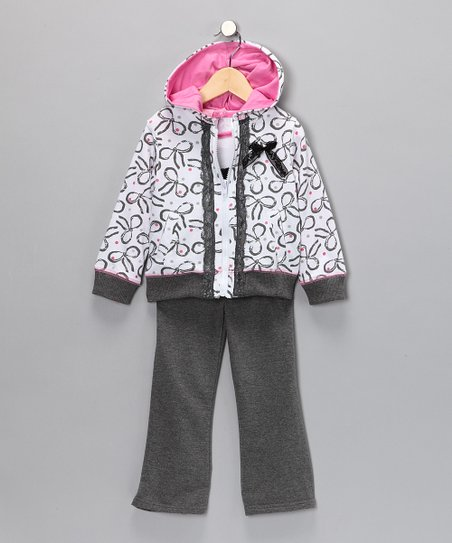 Pink & Gray Bow Pants Set - Infant