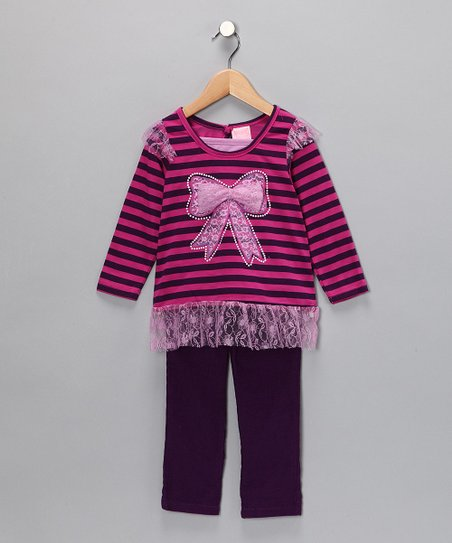 Purple Stripe Bow Top & Pants - Infant